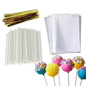 Cake Pop Treat Bag Set, 100 PCS White Lollipop Sticks, 100 PCS Lollipop Parcel Bags with 100 PCS Metallic Twist Ties