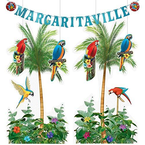 City Hangings - Party City Margaritaville Hanging Decorating Supplies, Include Scene Setters, Honeycomb Parrots, and a Letter Banner