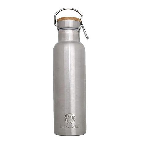 Luxamel Botella para deporte de acero inoxidable, con doble pared, botella de agua y termo, mantiene el frío 24 horas y el calor 12, 500 ml o 600 ml, ...