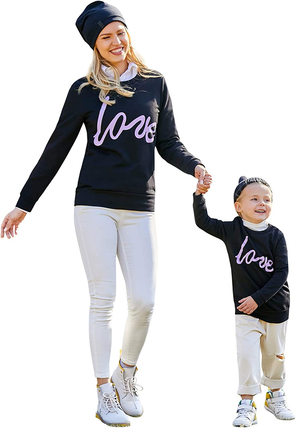 Mommy and Me Matching T-Shirt Letters Print Long Sleeve Pullover Sweater Tops Blouse Family Fall Outfit