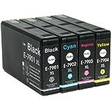 LCL(TM) 79 79XL T7901 T7902 T7903 T7904 (4-Pack Negro Cian Magenta Amarillo) Cartuchos de Tinta Compatible para Epson WorkForce Pro WF-4630DWF/4640DTWF/5110DW/5190DW