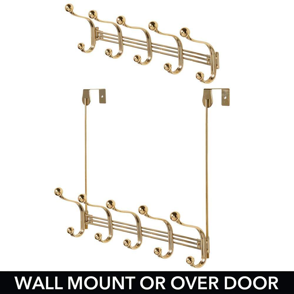 mDesign Práctico perchero metálico – Perchero de pared con 10 ganchos para la cocina, el pasillo o el baño – Perchero con ganchos para colgar abrigos, ...