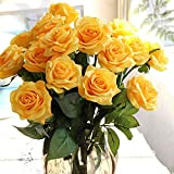 10 Pcs Real Touch Silk Artificial Rose Flowers Silk Gluing PU Fake Flower Home Decorations for Wedding Party or Birthday Garden Bridal Bouquet Flower Saint Valentine's Day Gifts Party Event(Yellow)