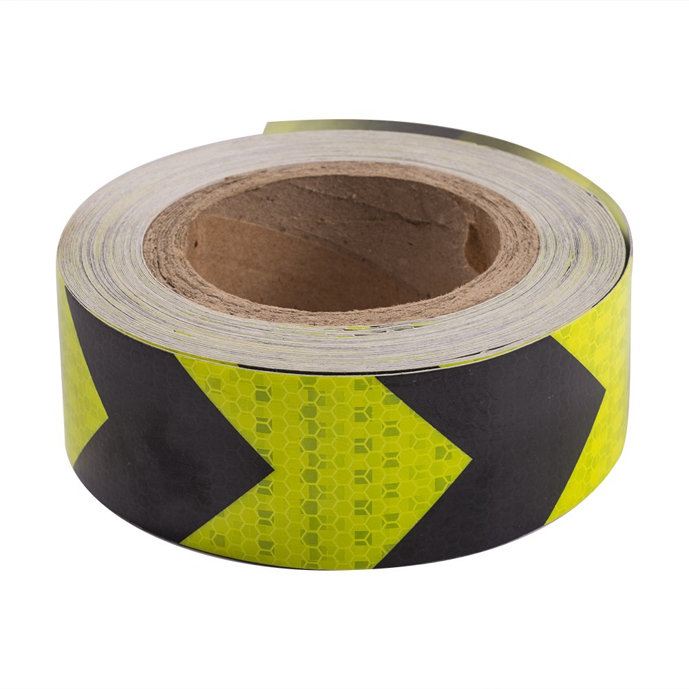 ATMOMO YELLOW BLACK Car Arrow Reflective Tape Safety Warning Tapes Strip Sticker Protective Tape 5CMx25M