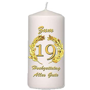 Foto Kerze Zum 19 Hochzeitstag 20 X 10 Cm Amazonde Küche Haushalt