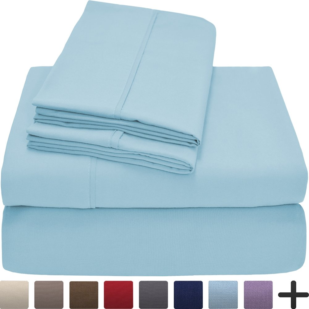 (Queen, Light Blue) Premium 1800 Ultra-Soft Microfiber Collection Queen Sheet Set, Hypoallergenic, Easy Care, Wrinkle Resistant, Deep Pocket (Queen, Light Blue) B019J50RVI クイーン|ライトブルー ライトブルー クイーン