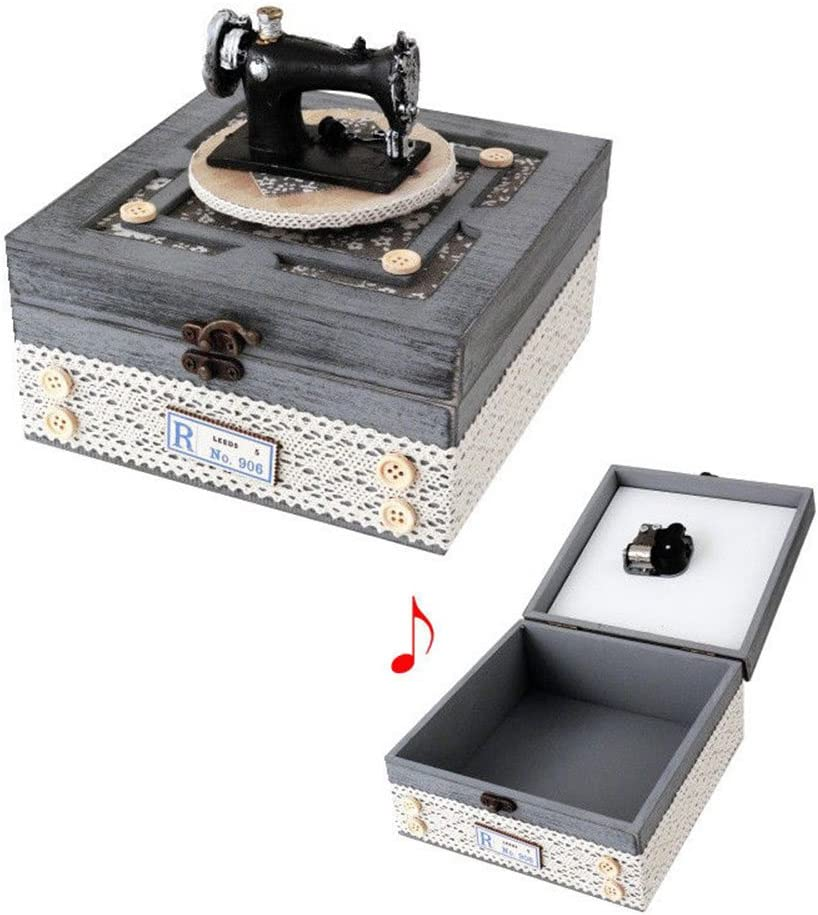 Costurero Maquina de coser madera rustica color gris caja costura ...