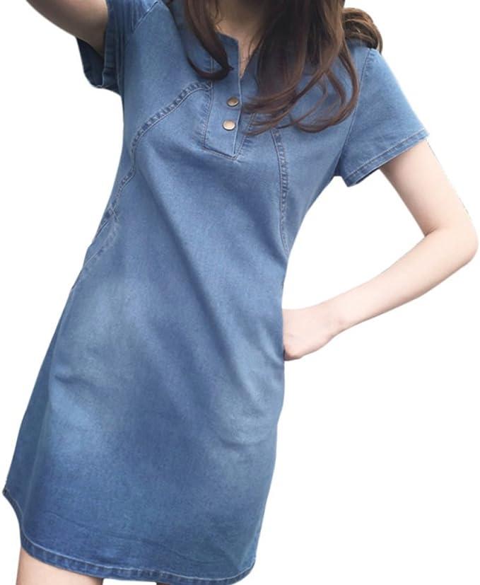 Yiitay Women Summer Plus Size Denim Dresses Casual Elegant Cowboy Dresses  Jeans Dresses