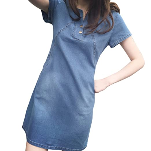 2308ced35327 Yiitay Women Summer Plus Size Denim Dresses Casual Elegant Cowboy Dresses  Jeans Dresses at Amazon Women s Clothing store