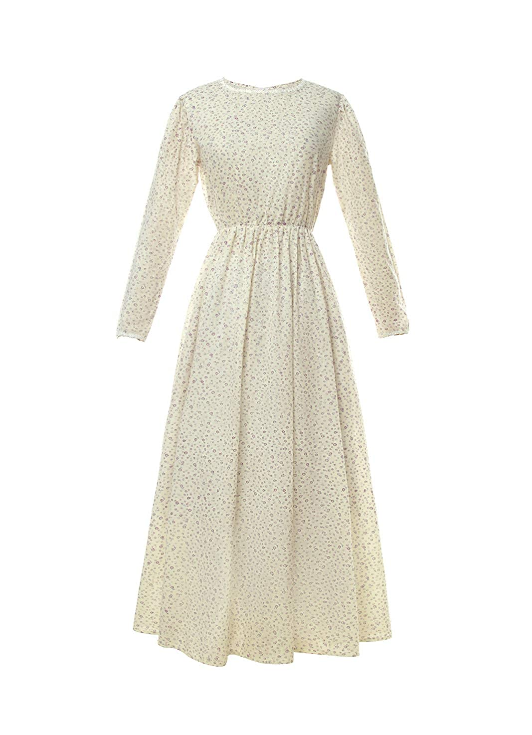 1900 Edwardian Dresses, Tea Party Dresses, White Lace Dresses ROLECOS Pioneer Women Costume Floral Prairie Dress Deluxe Colonial Dress Laura Ingalls Costume $31.99 AT vintagedancer.com