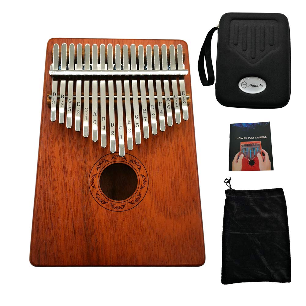 Kalimba 17 Keys Thumb Piano builts-in EVA high-performance protective box, tuning hammer and study instruction best gift For Kids Without Any Musical Basis Or Musician
