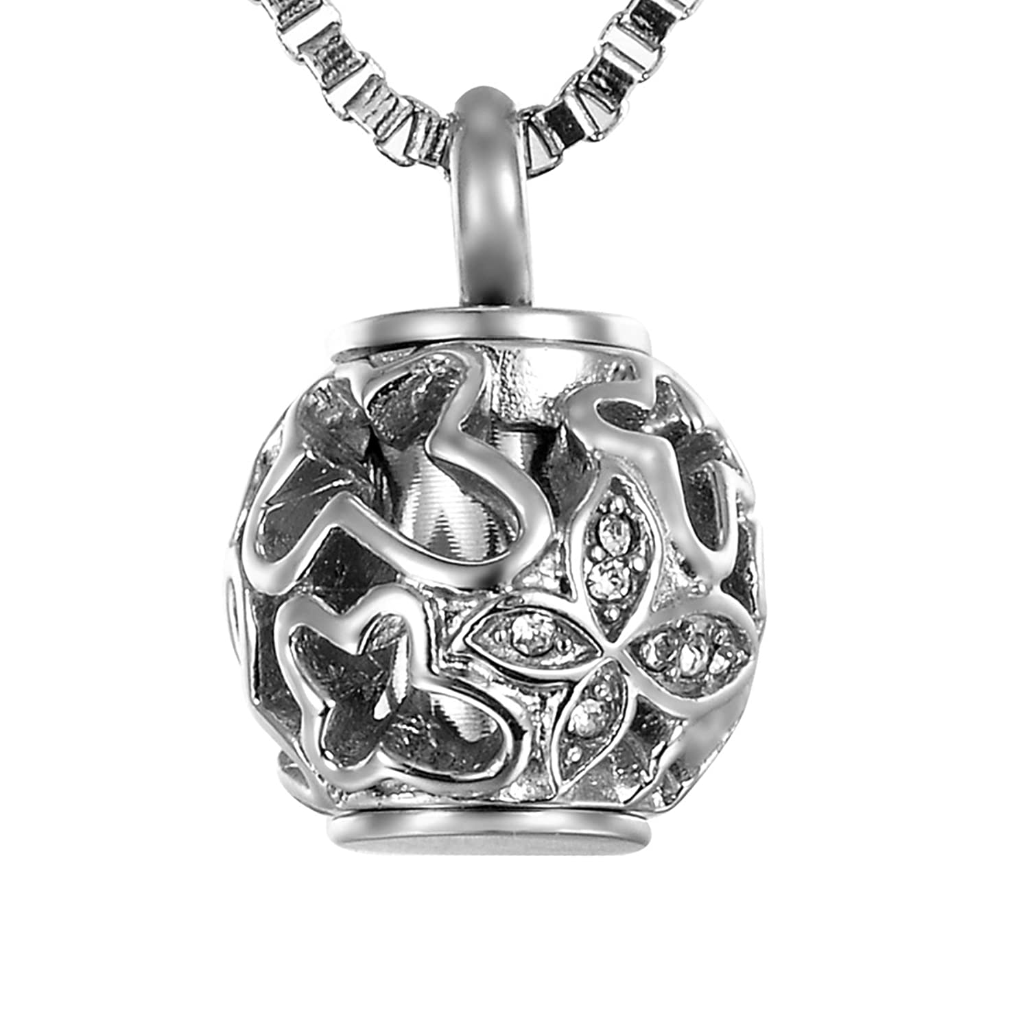 Amazon valyria cremation jewelry urn pendant necklace with amazon valyria cremation jewelry urn pendant necklace with hollow diamond butterfly beads always in my heart silver tone jewelry aloadofball Choice Image