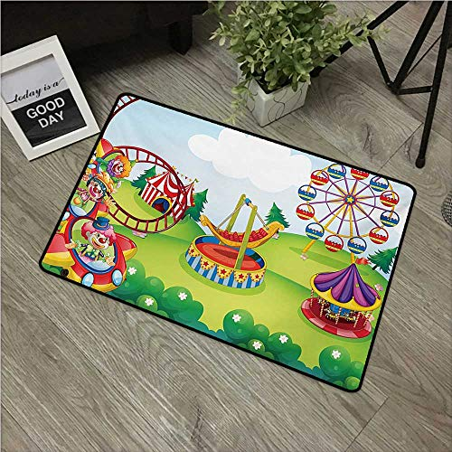 HRoomDecor Circus,Rubber Door mat Circus and Theme Park Design Carousel Amusement and Excitement Theme Trees Forest W 24