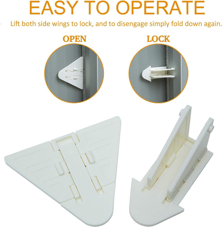 4 Pack Blanco Naomo Cerraduras de Puerta Corredera para Beb/é,Cerraduras de Seguridad con Adhesivo Fuerte 3M,F/ácil de Operar 4 Piezas