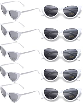 FSMILING Paquete de 10 Gafas de Sol Ojo de Gato Retro para Niñas Mujer Fiesta (Blancas)