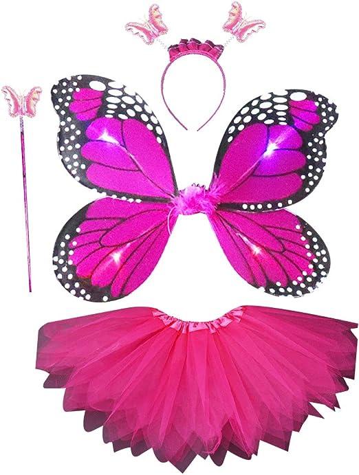Vivitoch 4 piezas disfraz de hada para niñas, alas de simulación ...