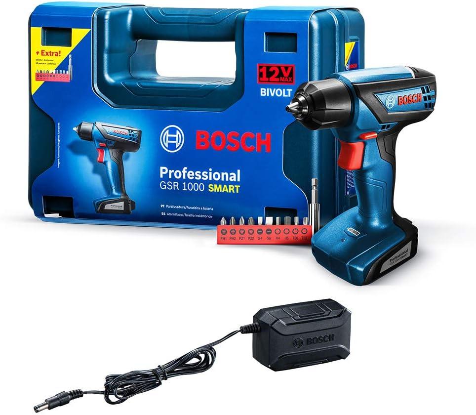 Parafusadeira e Furadeira a Bateria Bosch GSR 1000 Smart, 12V, com Bateria, Carregador BIVOLT e Kit de Acessórios em Maleta por BOSCH