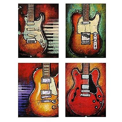 Kicode 4pcs Moderno Lienzo Música de la Vendimia Guitarra Instrumento de inyección de Tinta Pintura al
