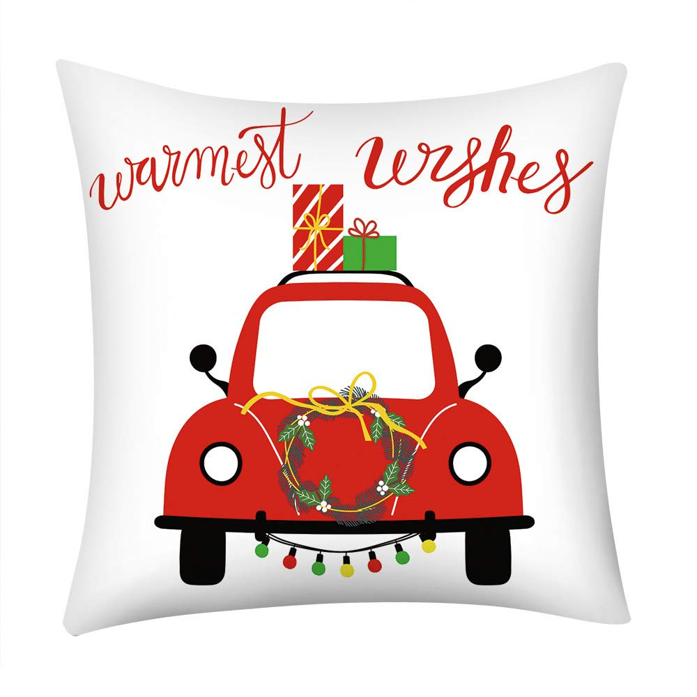 Pgojuni_Pillowcases Merry Christmas Simple Style Pillow Case Polyester Sofa Car Cushion Cover Home Decor Cover Pillow Case1pc (45cm X 45cm) (B)
