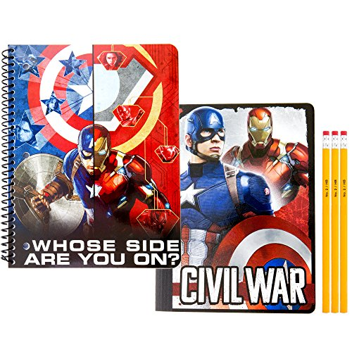 Captain America Civil War Back to School Supply Kit, 1 Subject Spiral Notebook 80 Ruled, 1 Composition Notebook 100 Wide Ruled & 3 No. 2 HB Pencils | High School, - Checklist Ironman