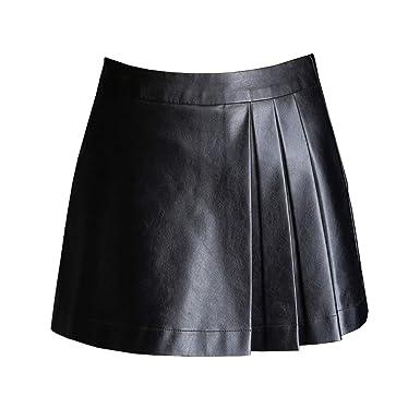E-Girl ED5109 Falda de Piel sintética para Mujer, Cintura Alta ...