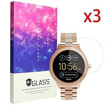 Ceston 9H Protector De Pantalla De Cristal Templado Para Smartwatch Fossil Q Venture (3 Pack)