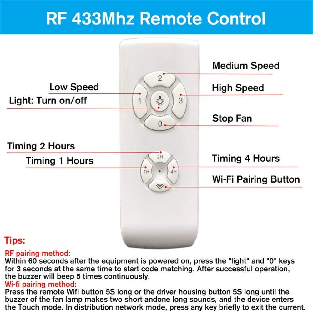 LPLCUICAN LED Bulbs WiFi AC110V-240V RF APP Timing Wireless Remote Control Smart Light Switch Kit for Ceiling Fan Lamp
