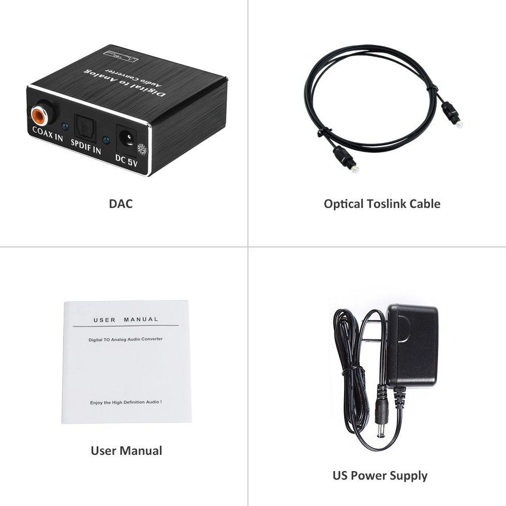roofull Toslink Digital Óptico, Coaxial y RCA L/R conversor de 3,5 mm: Amazon.es: Electrónica