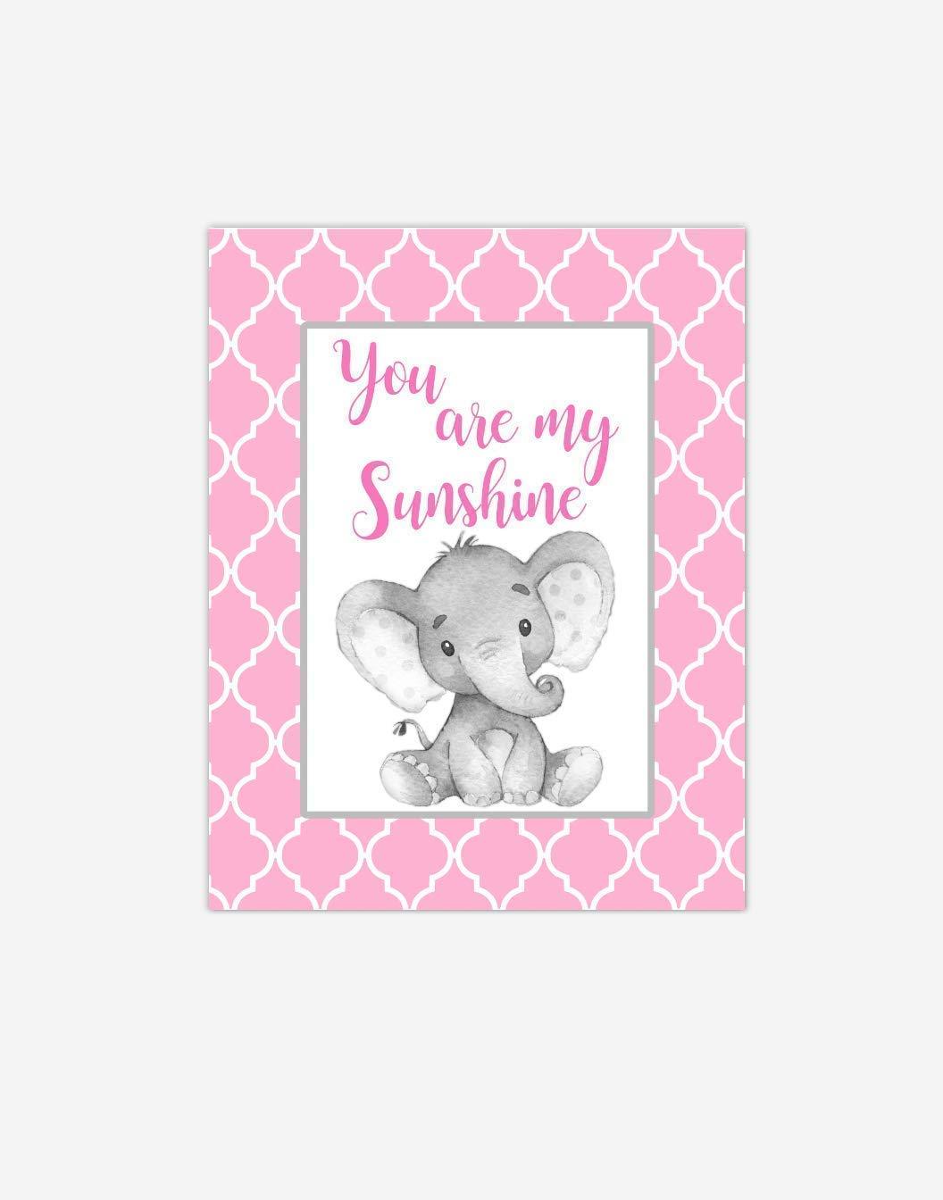 Canvas Baby Girl Nursery Art Elephant Safari Animal You Are My Sunshine Purple Baby Nursery Decor