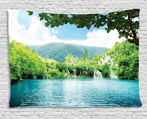 - Ambesonne Cottage Decor Collection, Lake In Deep Forest Fed By Several Waterfalls In Summer, Bedroom Living Room Dorm Wall Hanging Tapestry, 60W X 40L Inch