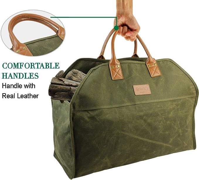 Inno Stage Sac de transport de b/ûches en toile cir/ée durable accessoires de chemin/ée extra large avec poign/ées pour le camping