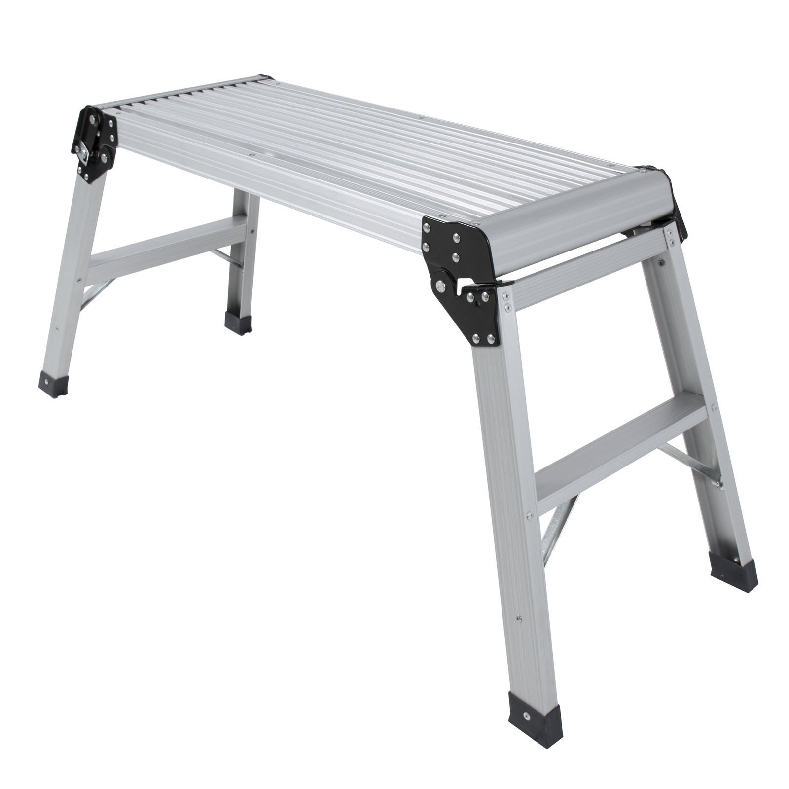 Anti Slip Aluminum Platform Drywall Step Up Folding Work Bench Stool Ladder | Heavy Duty Large Load Capacity Prevents Slipping Locking Legs | Ideal for Washing Vehicles Cleaning Windows Home Tool