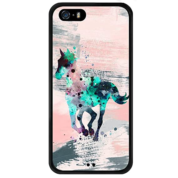 on sale ff168 26b8c Case for iPhone 5s 5 SE Graffiti Horse,ChyFS Phone Case ,PC and TPU Black  protective Case
