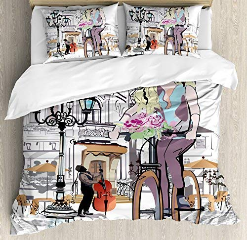 - wanxinfu Paris 4 Piece Bedding Set Full Size, Young Girl with Bike and Roses in a Street Old Town Musician Romantic Tour in City, 4 Pcs Duvet Cover Set Comforter Cover Bedspread with 2 Pillow Cases