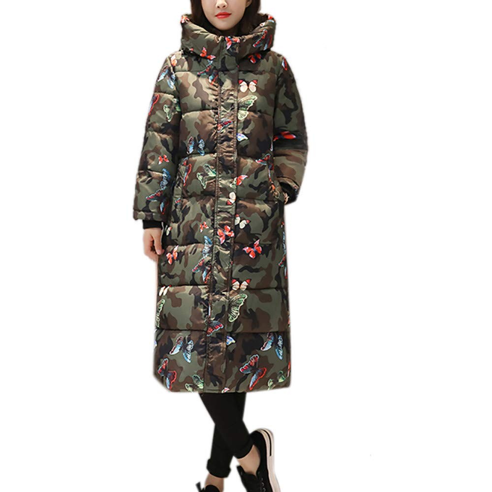 Hurrg Mens Quilted Camouflage Print Faux Fur Hooded Thicken Long Down Jacket