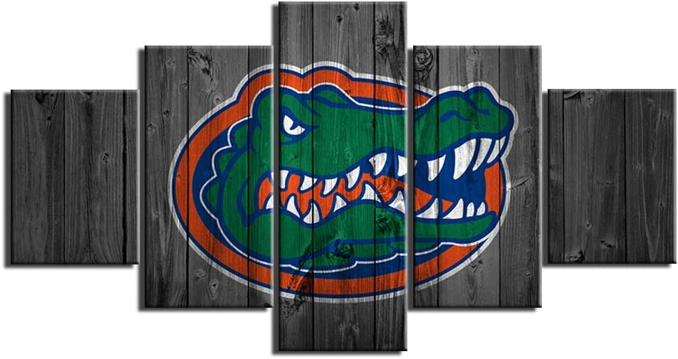 Florida Gators Football Wall Decor Art Paintings 5 Piece Canvas Picture Artwork Living Room Prints Poster Decoration Wooden Framed Ready to Hang(60''Wx32''H)