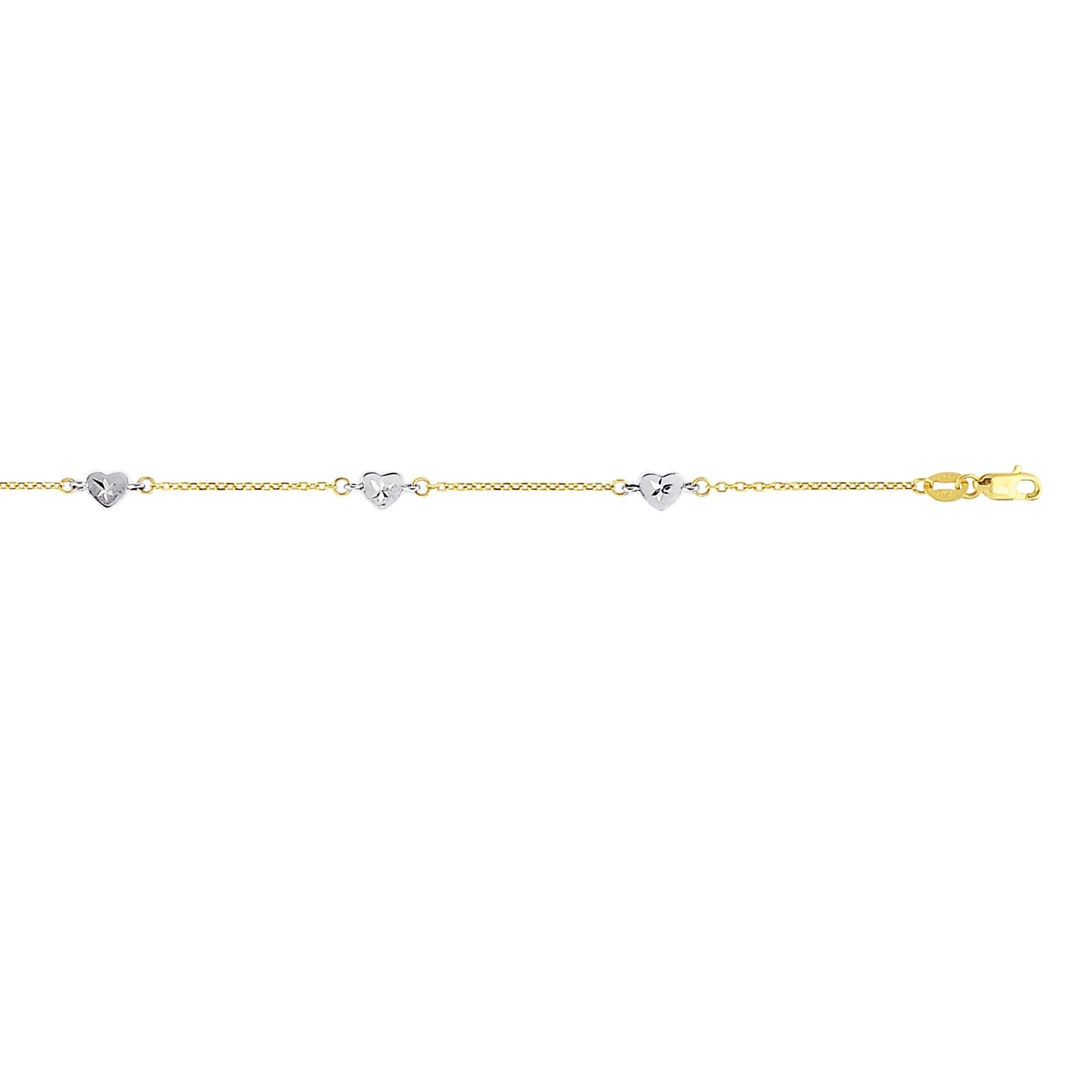 14k Two Tone Yellow And White Gold 10 Inch Polish Diamond Cut Finish Heart Anklet Bracelet