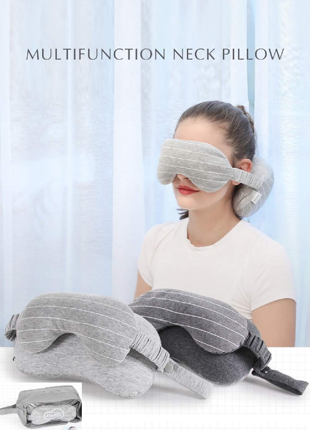 Okayland Multi Function Travel Eye Pillow Flight Car Office Travel Nap Neck Head Support Eye Mask Pillow,A Patented Product (Dark Gray)