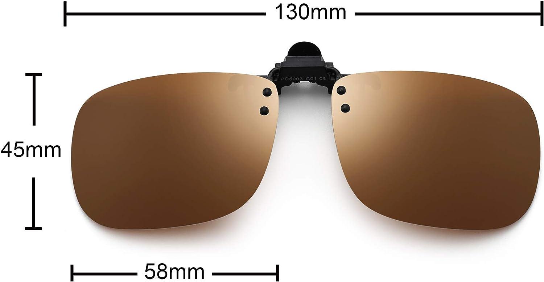 JM Clip Occhiali da Sole Polarizzata con Lenti Flip Up Senza Montatura per Occhiali da Vista