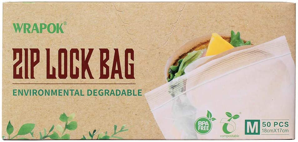 WRAPOK 100% Compostable Sandwich Ziplock Bags Reusable Small Storage Freezer Bag for School or Work, 50 Count