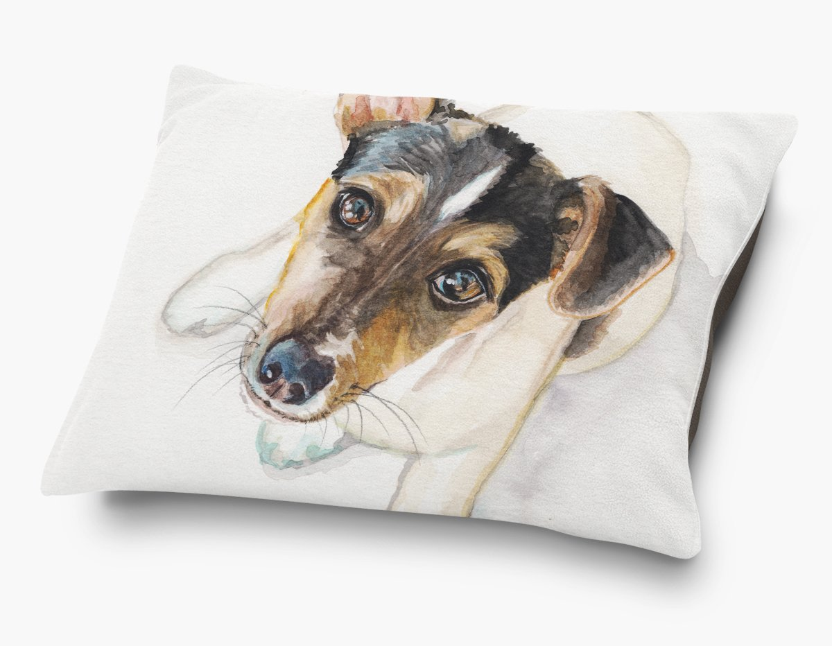 Redstreake Creative Living, Jack Russel dog Pet Bed, Coral Fleece Top with Cotton Duck Bottom (dark brown), Zipper with INSERT (30 x 40'')