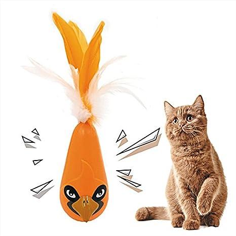 UKCOCO Juguete Interactivo para Gatos Juguete Electrónico automáticos Vaso Pelota con plumas para Gatos