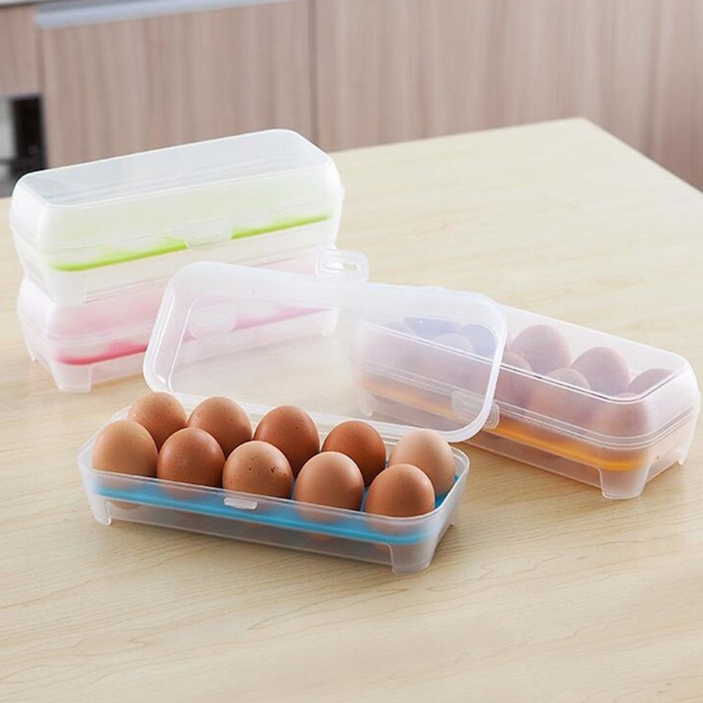 Baost Plastic Kitchen Egg Storage Box Organizer Stackable Refrigerator Storing 10-Eggs Organizer Bins Outdoor Eggs Tray With Lid Portable Container Storage Travel Camping Egg Boxes Blue