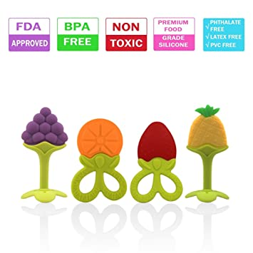 Baby Teething Toys Soft Silicone Natural BPA Free Fruit Teethers with Pacifier Clip//Holder for Toddlers /& Infants