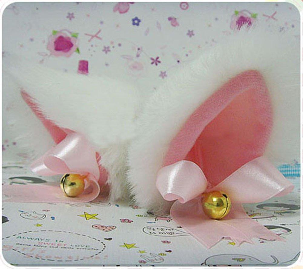 Hot Sweet Lovely Anime Lolita Cosplay Fancy Neko Cat Ears Hair Clip White with Bell