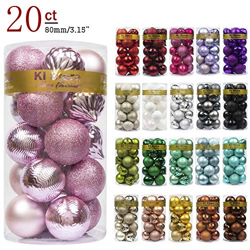KI Store 20ct Christmas Ball Ornaments Shatterproof Christmas Decorations Large Tree Balls for Holiday Wedding Party Decoration, Tree Ornaments Hooks Included 3.15 (80mm Pink)