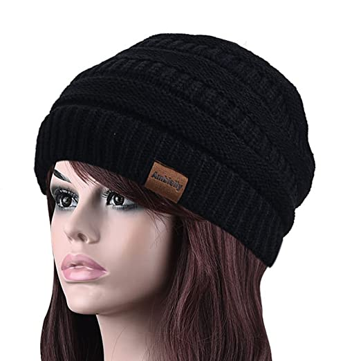 ea3065837b4 Wool Hats for Old Lady Thick Wool And Acrylic Winter Hat Knitted Women Cap  Fashion Solid Color Warm Beanies for Women Top Caps