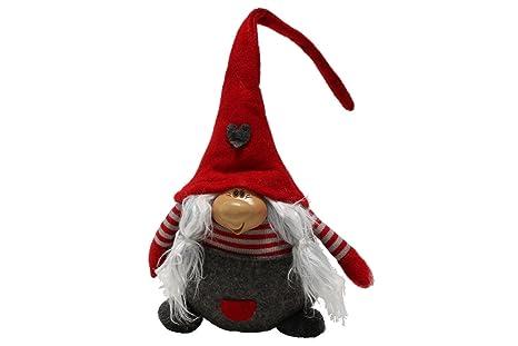 Folletto Di Natale Donna Gnomo Deko 44 Cm Rosso Cappello Di Feltro