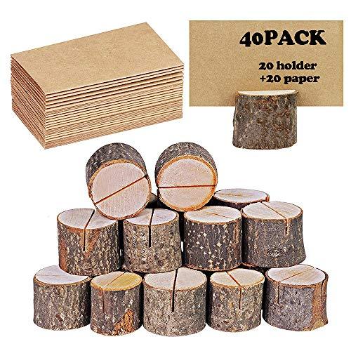 40 portatarjetas rustico de madera con soporte de madera para tarjetas de mesa, soporte para tarjetas de numeros, soporte para tarjetas de notas, para bodas (20 soportes + 20 lugares de papel kraft)
