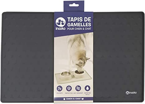 inooko tapis de gamelle pour chien et chat antiderapant impermeable et design 48 x 30 cm gris fonce